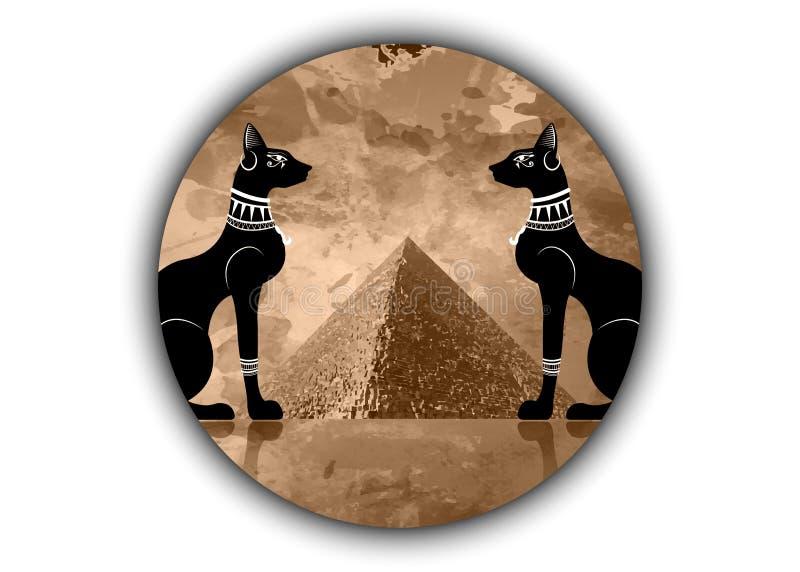 Chats égyptiens et pyramide antique de l'Egypte Déesse de Bastet, d'Egypte antique et paumes, profil de statue avec les bijoux ph illustration libre de droits