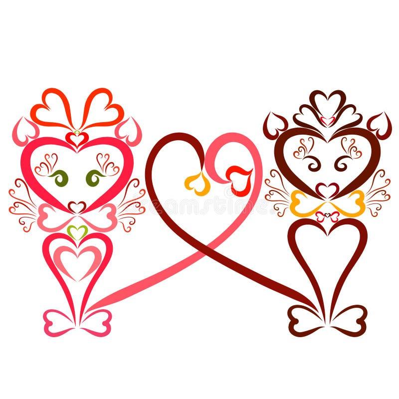 Chats aimants avec un coeur des queues, un modèle de beaucoup de coeurs illustration de vecteur