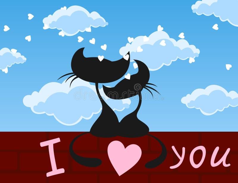 Chats amoureux illustration libre de droits