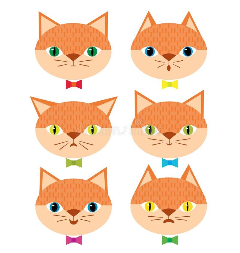 Chats avec différents modes émotifs illustration stock
