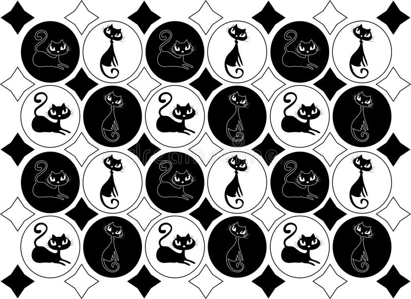 Chats blancs noirs en boucles illustration libre de droits