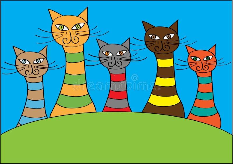 Chats colorés drôles de bande dessinée et illustration stock