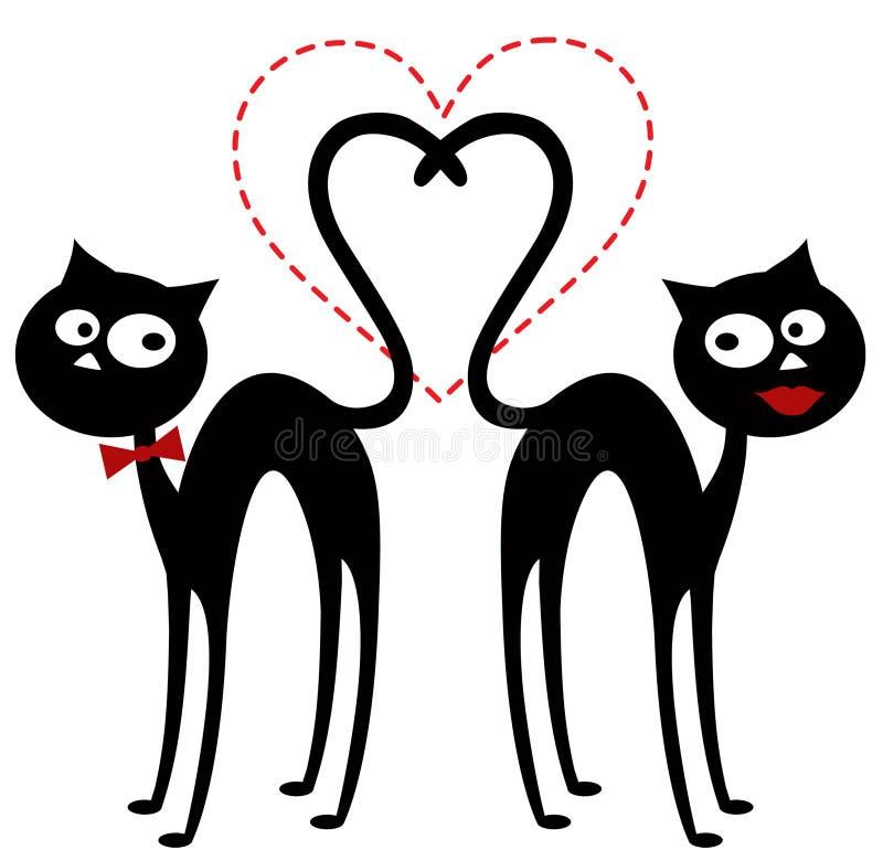 Chats dans l'amour illustration de vecteur