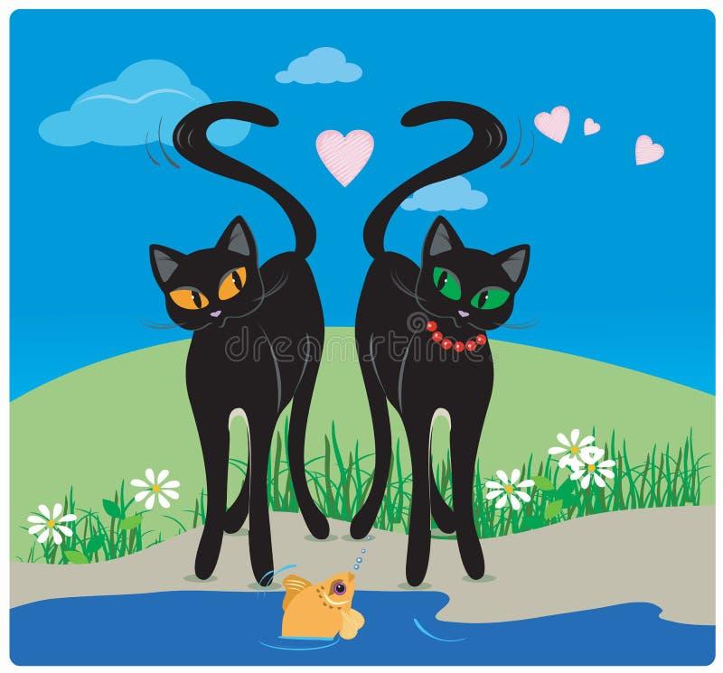 Chats dans l'amour illustration libre de droits