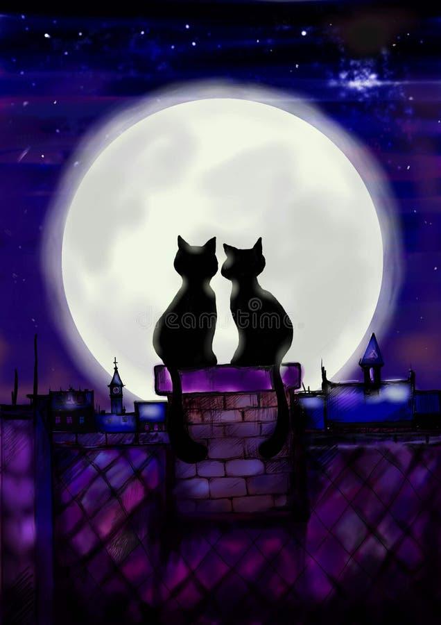 Chats dans l'amour. illustration stock