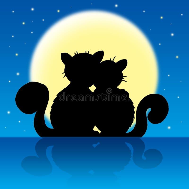 Chats dans le clair de lune illustration stock