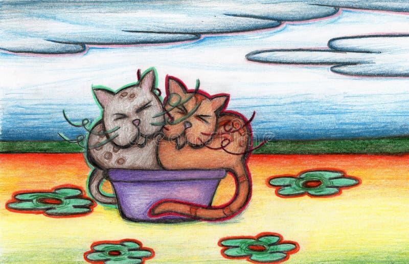 Chats dans un panier avec le paysage de fleur photographie stock