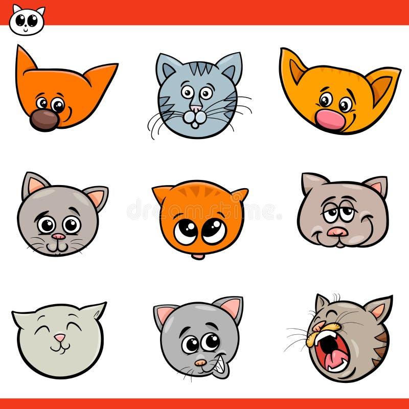 Chats de bande dessinée et têtes de chatons réglées illustration libre de droits