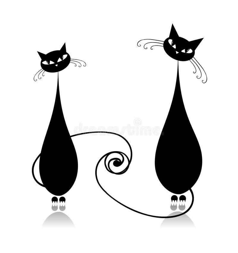 Chats de couples ensemble, silhouette noire illustration de vecteur