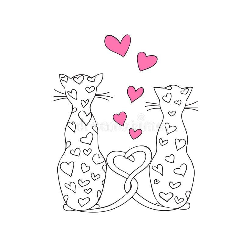 Chats de Valentine dans l'amour illustration de vecteur