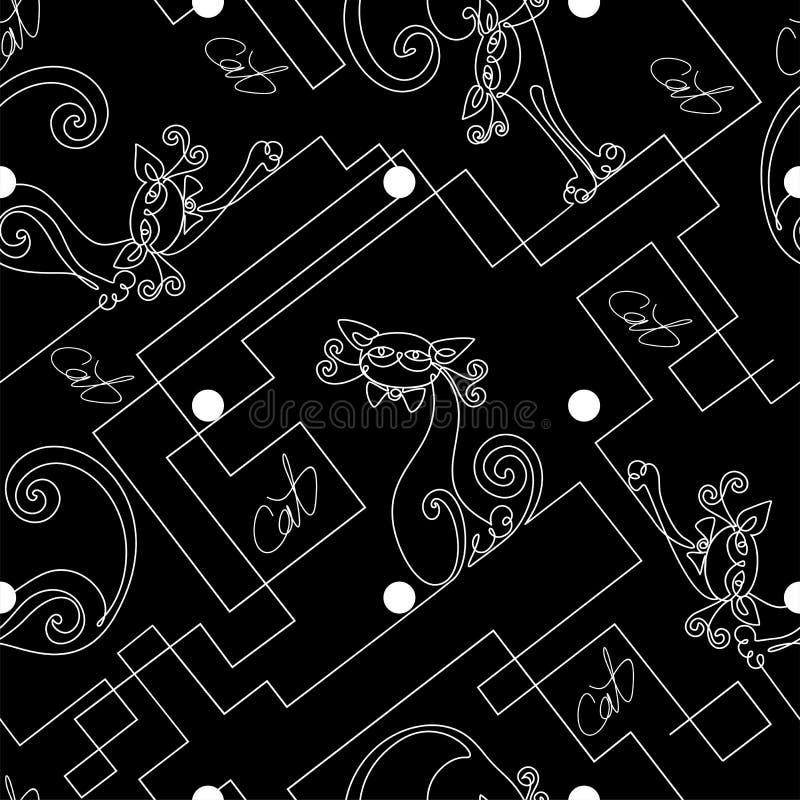 chats Dessin au trait continu Configuration sans joint impression L'effet du conseil de craie Fond noir de point de polka illustration stock