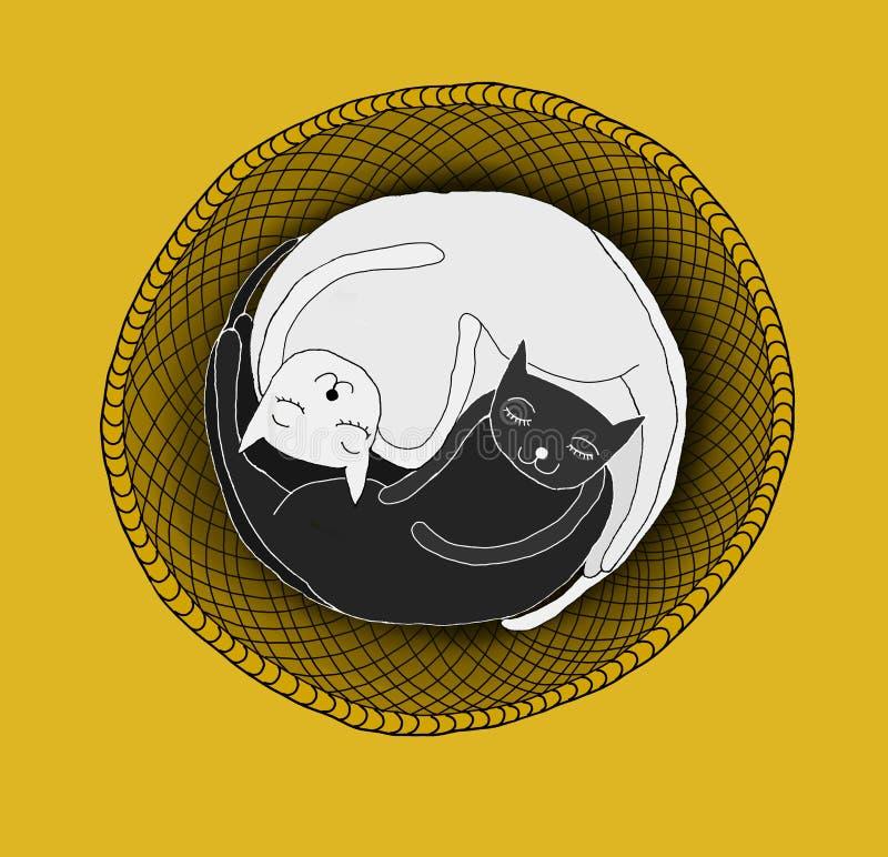 Chats dormant dans le panier illustration libre de droits