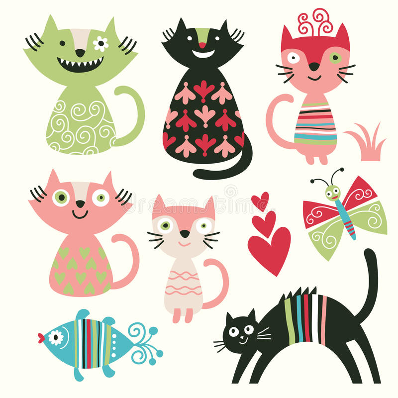 Chats drôles illustration de vecteur