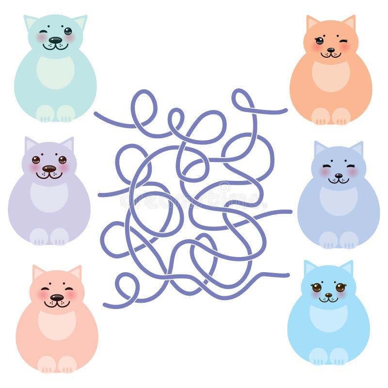 Chats drôles de séance réglée gros, couleurs en pastel sur le fond blanc jeu de labyrinthe pour les enfants préscolaires Vecteur illustration libre de droits