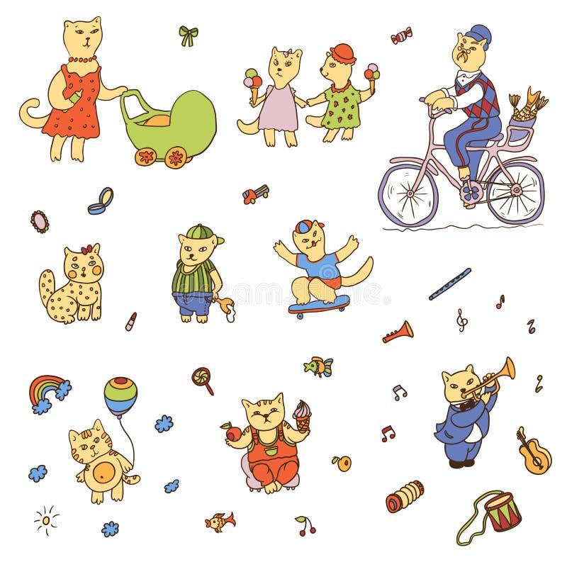 Chats drôles tirés illustration stock