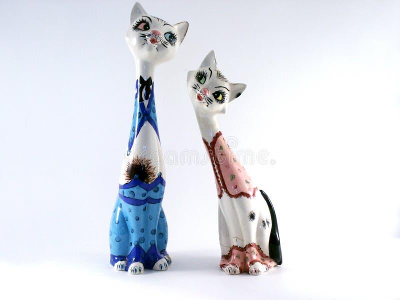 Chats en céramique photographie stock