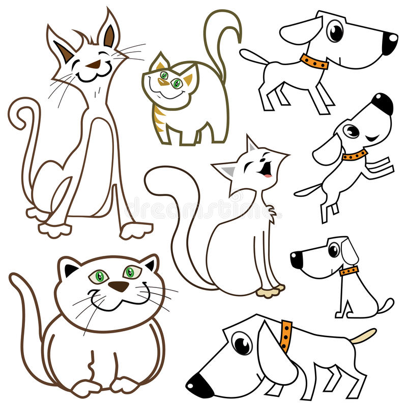 Chats et crabots de dessin animé illustration stock
