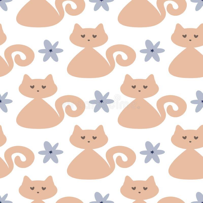 Chats et fleurs mignons répétés Configuration sans joint pour des enfants illustration libre de droits
