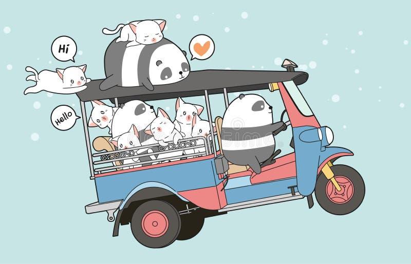 Chats et panda tirés de kawaii sur le tricycle de moteur illustration stock