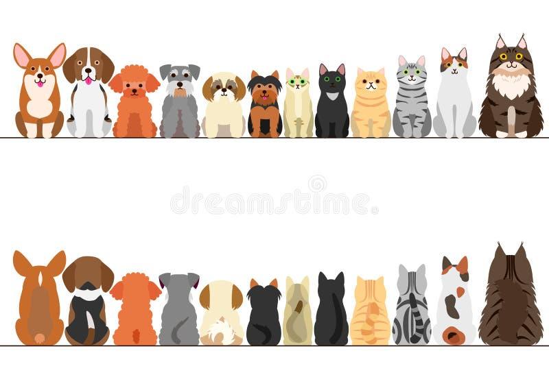 Chats et petit ensemble de frontière de chiens illustration de vecteur