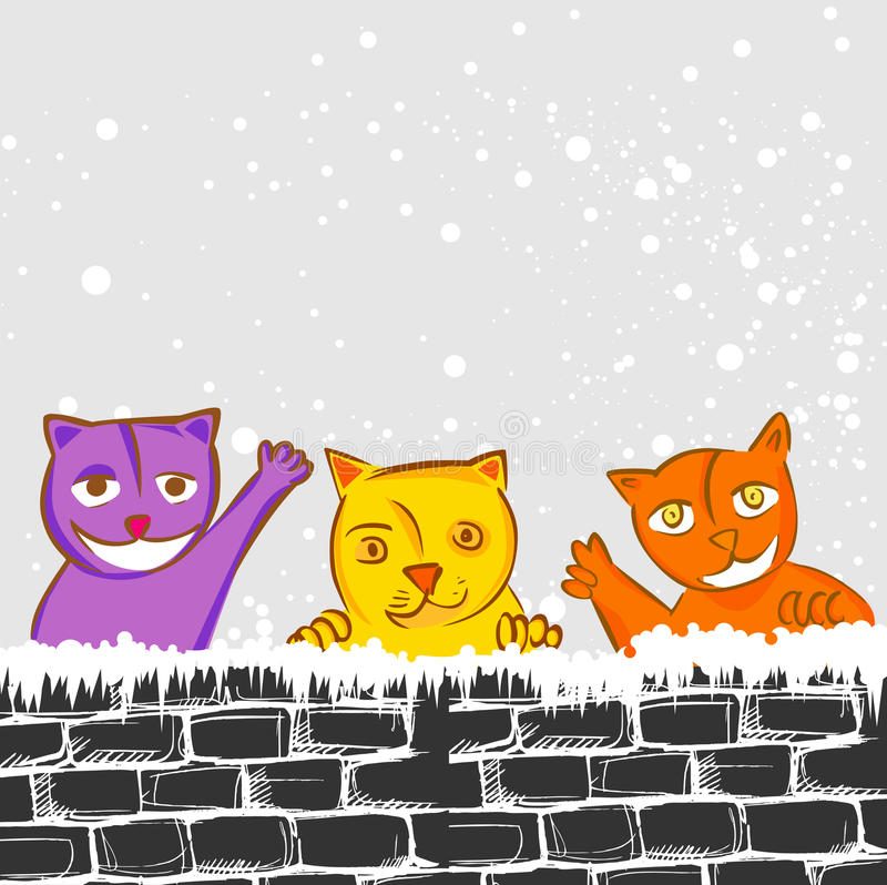 Chats mignons illustration de vecteur