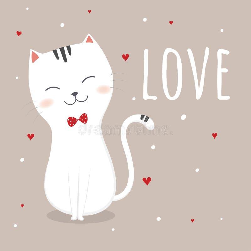 Chats mignons dans l'amour illustration stock