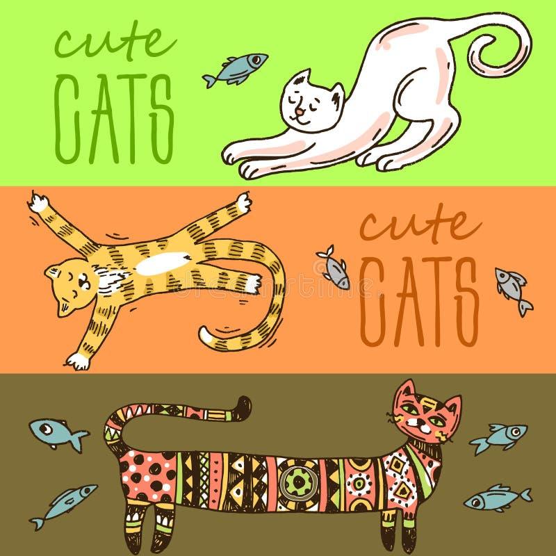 Chats mignons de belle illustration tirée par la main de vecteur illustration stock