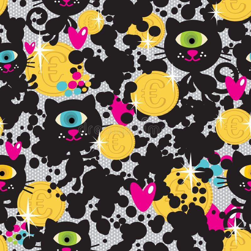 Chats mignons de monstres et modèle sans couture d'argent. illustration stock