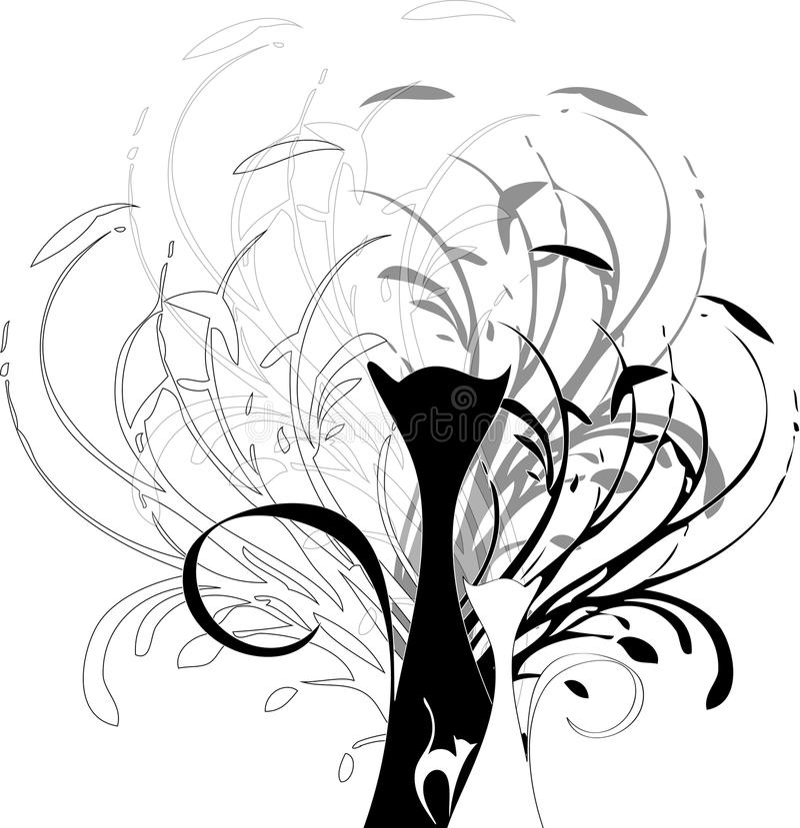 Chats noirs blancs illustration stock