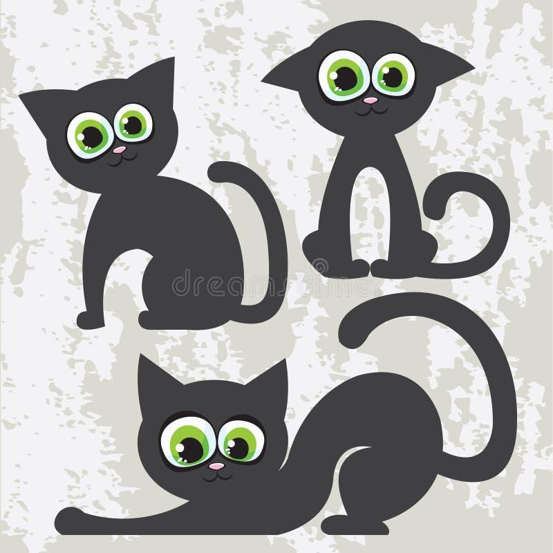 Chats noirs de dessin animé illustration stock