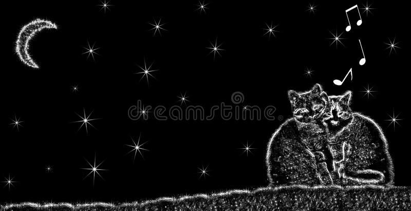 Chats qui chantent la nuit illustration libre de droits