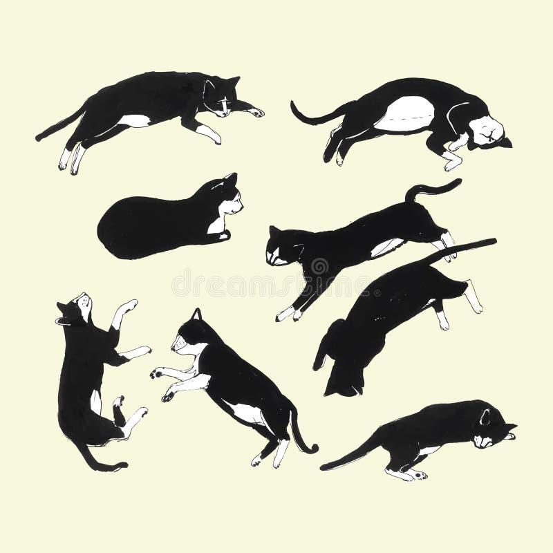 Chats tirés par la main dormant dans différentes poses illustration stock