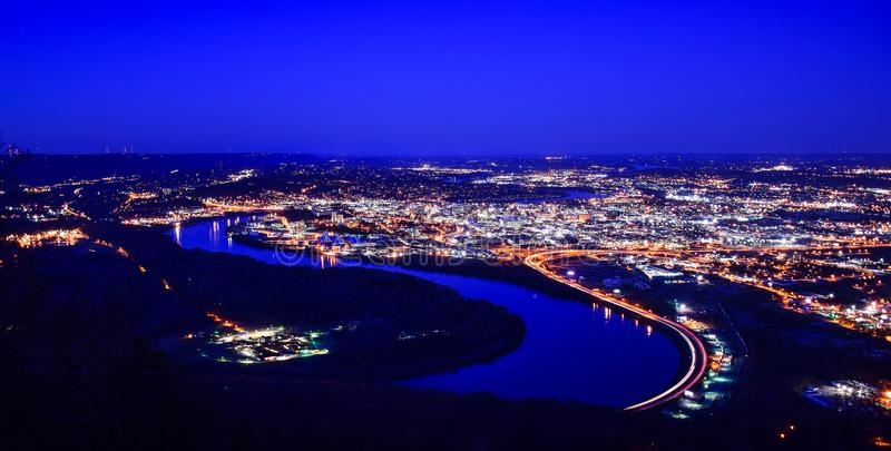 Chattanooga do centro Tennessee Skyline Aerial do parque do ponto fotografia de stock royalty free