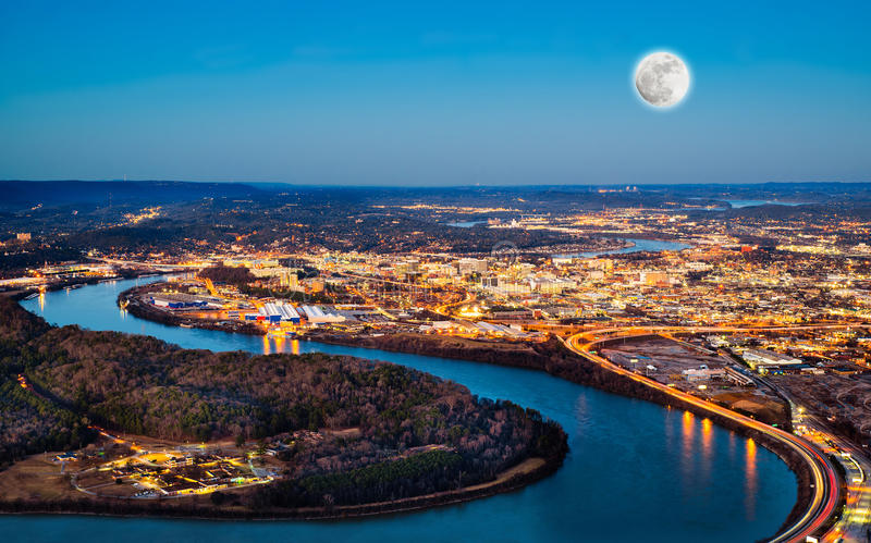 Chattanooga downtown at night. As seen from Lookout Mountain stock photography