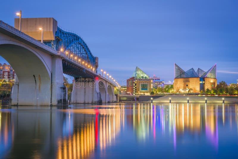 Chattanooga Tennessee, USA i stadens centrum horisont fotografering för bildbyråer