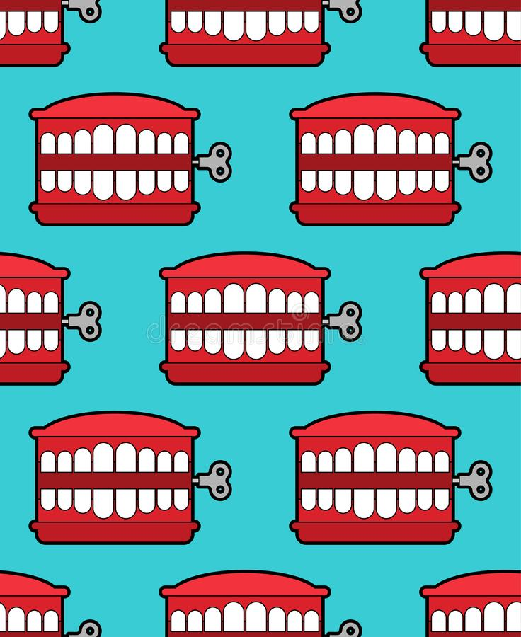 Chatter teeth toy pattern seamless. April Fools Day ornament. Jaw toy background vector royalty free illustration