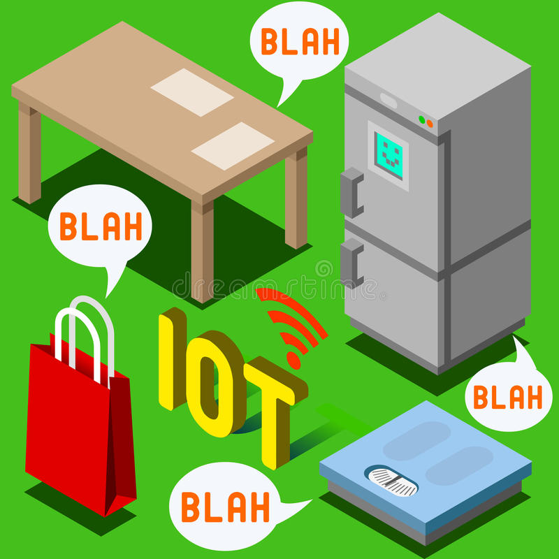 The Chatter of Things - Isometric Internet of Things. Internet of Things Isometric Representation - The Chatter of Things - IoT Domotics royalty free illustration