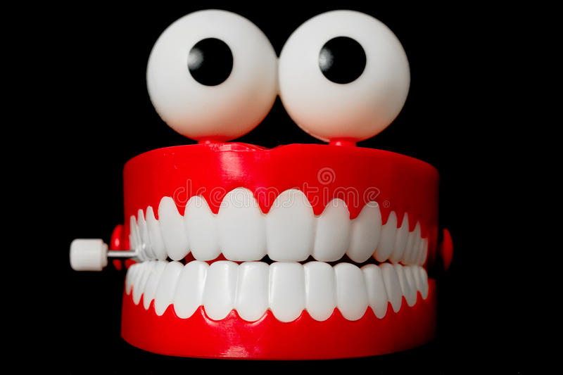 Chattering teeth toy from the front royalty free stock image