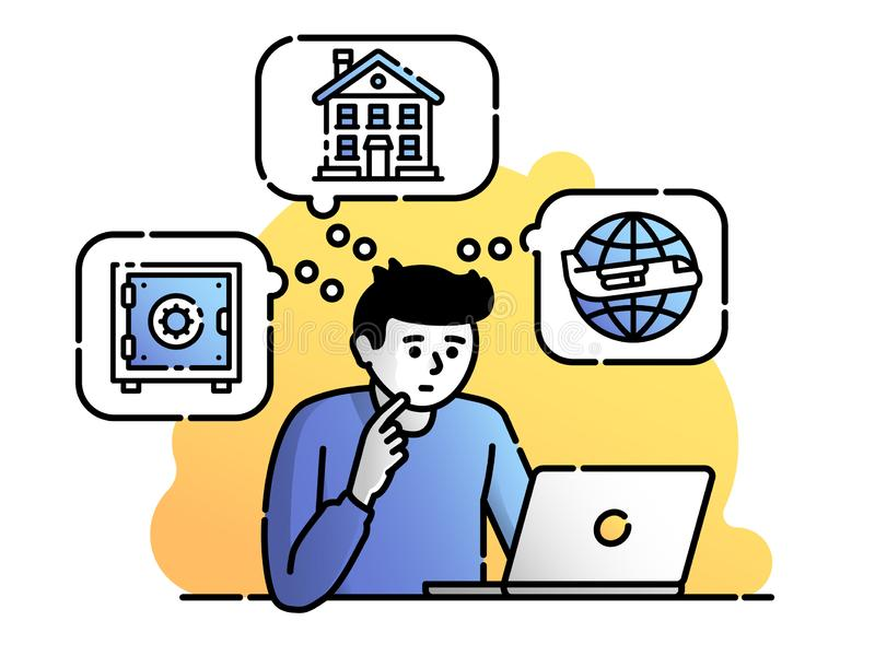 Difficult choice. Trouble to decide what to do. Money investment. Vector flat illustration. Concept for web or mobile app. UI/UX user interface vector illustration