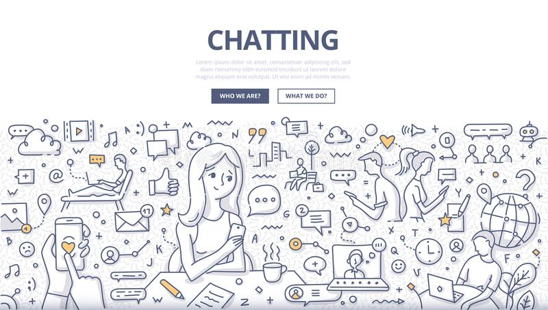 Chatting Doodle Concept. Doodle vector illustration of live chat communication, chatting on mobile smartphone, social networking. Concept of online chatting for vector illustration
