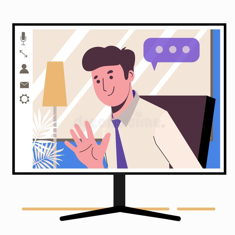 Free Chatting Online. Man On The Monitor Screen. Work At Home, Freelance, Remote Work As A Team. Service For Communication. Flat Illust Royalty Free Stock Image - 178693966