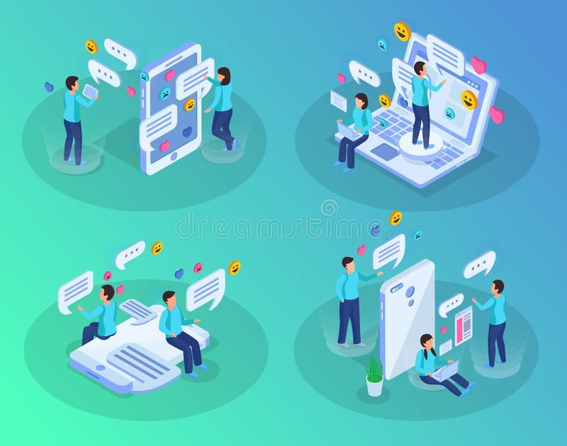 Chatting People Isometric Concept. Chatting people 4 isometric compositions with smartphone laptop tablet messages bubbles heart symbols green background vector vector illustration