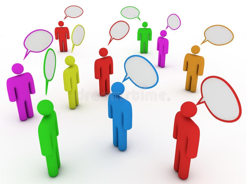 Chatting people with speech bubbles vector illustration