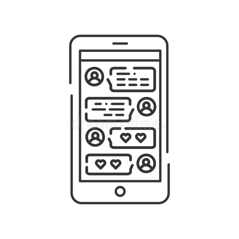 Chatting on smartphone screen black line icon. Internet communication in dating site. Sign for web page, mobile app. UI UX GUI template. User interface display vector illustration