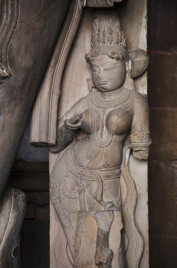 CHATURBHUJ寺庙,雕塑,南部的小组,克久拉霍,中央邦,联合国科教文组织世界遗产名录站点 库存照片