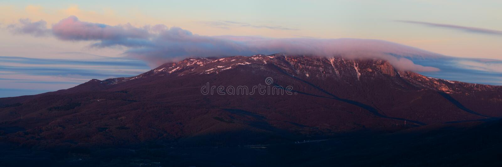 Chatyr-Dag. Beautiful view of the Chatyr-Dag at dawn with Demerji stock image