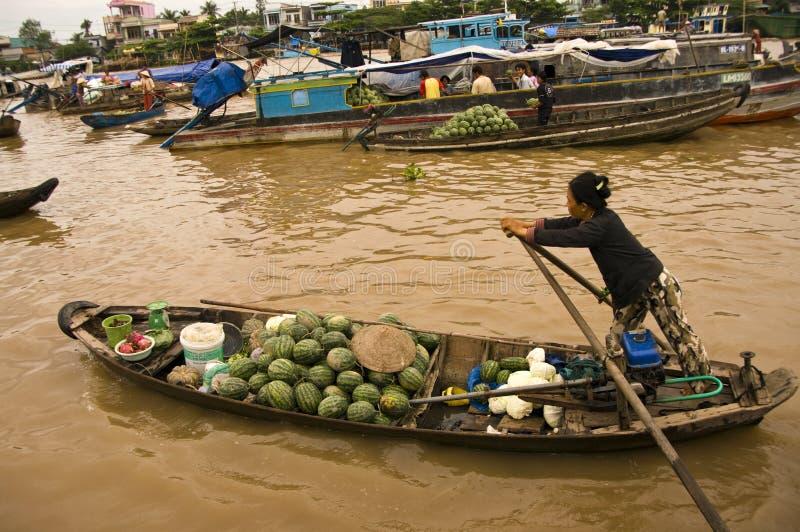 chau doc浮动的市场越南 免版税库存图片