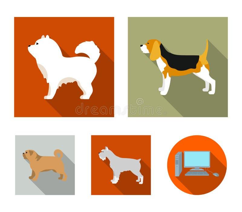 Chauchau, levawa, schnauzer, pug De hondrassen plaatsen inzamelingspictogrammen in het vlakke Web van de de voorraadillustratie v vector illustratie