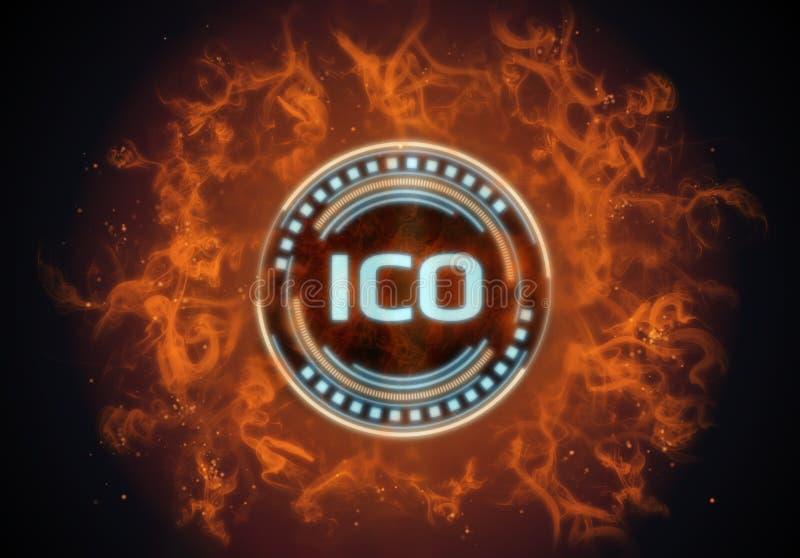 Chaud sur la pièce de monnaie initiale rougeoyante du feu ICO offrant l'hologramme mené entouré par l'illustration flambe illustration stock