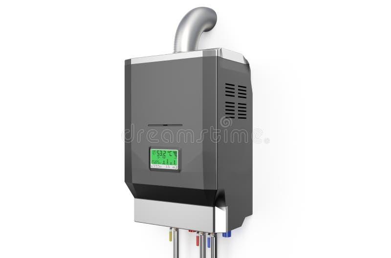 Chaudière à gaz à la maison grise, chauffe-eau illustration stock